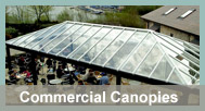 Commercial Canopies can be used for a range of applications including covered loading bays, walkways, sheltered storage areas or smoking shelters.